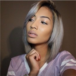 $enCountryForm.capitalKeyWord Canada - Ombre Color #1B Grey Bob Style Hair Wig Baby Hair Brazilian Human Hair Lace Front Wig Glueless Full Lace Wig Bleached Knot