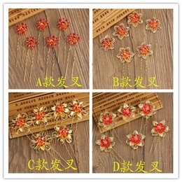 red flower diamond hairpin NZ - Wedding handwear hairpin, red and golf flower for wedding party, for Bride Bridesmaid, noble and delicate ,free shipping and high quality