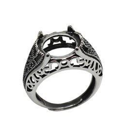 sterling silver antique rings Canada - Beadsnice 925 sterling silver filigree ring setting fits 12mm round cabochon antique silver tone handmade rings for woman ID 33760