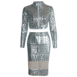 $enCountryForm.capitalKeyWord UK - Fashion Sexy Silver Goddess Club Dress with Tops and Skirt Faux Leather PVC Hollow Holes Night Out Dress W373512C
