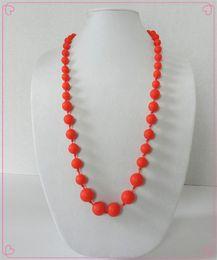 $enCountryForm.capitalKeyWord NZ - New FDA Silicone Teething Pendant Nursing Chewelry Necklaces Kids Chew Beads Chewable Teething Necklace DIY Silicone Loose Beads