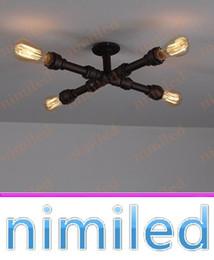 $enCountryForm.capitalKeyWord Canada - nimi812 4-Lights Creative Industrial Pipes Iron Vintage Retro Ceiling Lamps Loft Cafe Book Shelf Lighting Living Room Light