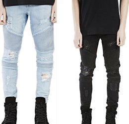 Discount free foot clips - NEW 2016 Street Hole BIKER JEANS stereo clipping elastic Hole Ripped Jeans Men Denim fold foot locomotive JEANS Strech S