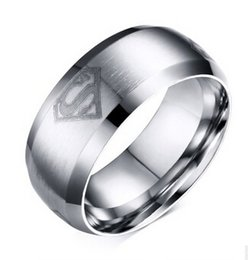 Hero Bands Canada - Titanium Steel Comfort Fit Smooth Surface Superman Wedding Band Classical Super Hero Logo Men's Band Ring for Men