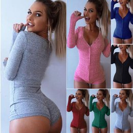 Femmes Sexy V Cou Bodycon Pull Tops Filles Body Combishort Dames Short Barboteuses Vêtements de nuit Vêtements de nuit Combinaison Tricots en Solde
