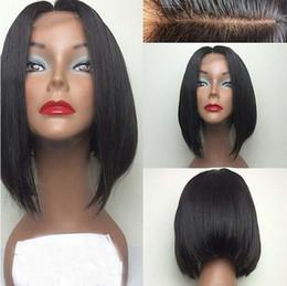 big virgin black lady 2019 - Hot short bob lace wigs 6A grade unprocessed virgin short human hair full lace front wigs 130%density for black women