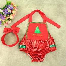 $enCountryForm.capitalKeyWord NZ - Wholesale Metallic Red Green Ruffle Bottom Baby Girls Romper Set Christmas Tree Pattern Sleeveless Baby Clothes with Headband