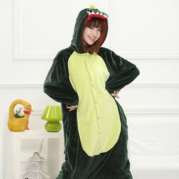 $enCountryForm.capitalKeyWord Canada - New Hot Sale Lovely Cheap Kigurumi Pajamas Anime Cosplay Costume Unisex Adult Onesie Green Dinosaur Dress Sleepwear Halloween S M L XL