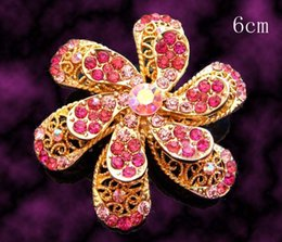 Flower Brooch Black Gold Canada - Wholesale hot sell Gold plated flowers Zinc alloy rhinestone Brooches wedding jewelry Free shipping 12pcs lot mixed color BH766