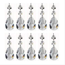 10 UNIDS Crystal Chandelier Lágrima Prismas Colgantes 50mm con Dos Perlas Octagonales Conector Anillo de Cristal Chandelier piezas