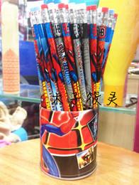 Discount box student pencil - Hot Sale Spiderman Wooden Pencil Set Children Stationery School Set Wholesale 144pcs 2pack