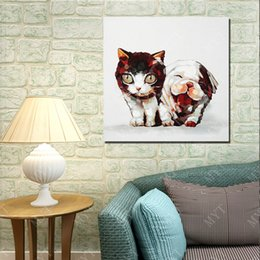 $enCountryForm.capitalKeyWord Canada - Oil Painting On Canvas Lovely Cat With Dog Wall Pictures Abstract Modern Canvas Wall Art Living Room Decor Picture