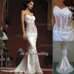 mermaid wedding dresses strapless see through corset with lace appliqued beaded custom made real photo bridal gown