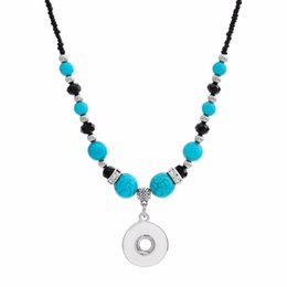 Wholesale New Beauty National Style Turquoises Beads Snap Necklace cm Fit Diy mm mm Snap Buttons