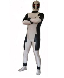 Wholesale deadpool costume zentai for sale – halloween Deadpool Costume Lycra Spandex Zentai Full Body Suit Grey Black Cosplay Halloween Bodysuit