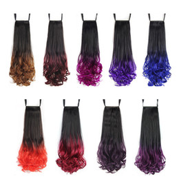 synthetic hair drawstring ponytail Canada - Synthetic hair ponytails ombre Drawstring Ribbon Ponytail curly wavy 20inch 120g synthetic pieces hair extensions more colors