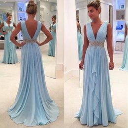 Green Apple Sash Canada - Custom Made Deep V Neck Prom Dresses A Line Chiffon Ruffles Skirts Long Backless With Crystal Sash Formal Evening Gowns