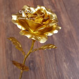 $enCountryForm.capitalKeyWord Canada - 10Pcs Valentine 24k pure gold foil gold rose full roses Sweet Valentine's gift for your lover forever love golden rose roses