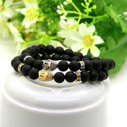 womens gold charm 2019 - New Arrival 8mm A Grade Matte Agate Stone Beads Gold & Platinum Plated Clear Cz Buddha Bracelets Mens Womens Jewelry che