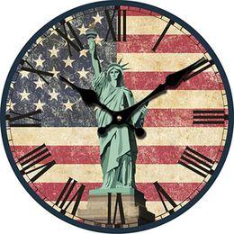 wholesale 30cm american flag large decorative wall clocks wood statue of liberty wall clock modern design silent watch wall saat