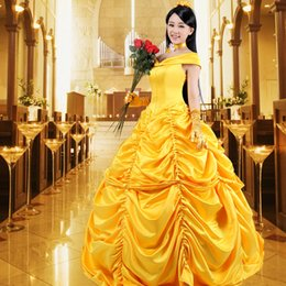 beauty beast costumes 2019 - Freeship yellow ruffle belle beauty&beast princess gown medieval dress princess Renaissance Gown queen Victoria ball gow