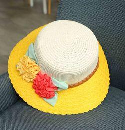 Roses Beach Hats Canada - 2016 New Bohemian Flowers Straw Hat Elegant Floppy Wide Brim Cap Cute Handmade Floral Hats Original Rose Peony Sun Hat