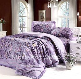 bed sheets 4 pcs full queen bed in a bag sets premium combed cotton purple floral pattern printed comforter covers home textile cheap premium bedding