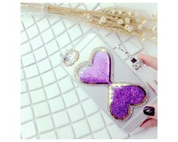 Wholesale For Apple iphone S Cellphone Case Luxury Bling Crystal Rhinestone Diamond Heart Back Case Phone Covering Shell