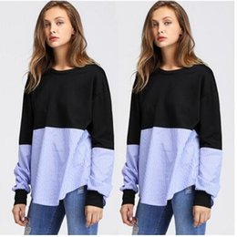Barato Mulher Blusa Listra-Moda 2017 New Women Outono Tops Stripes Long Sleeve Casual Sweatshirt Pullover Lady Blouses Vestuário