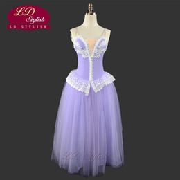 soft pink tutu UK - Professional Lilac Fairy Romantic Ballet Tutu Dress LD0002D Soft Tulle Long Ballet Dress Stage Performance Ballet Tutu Costumes