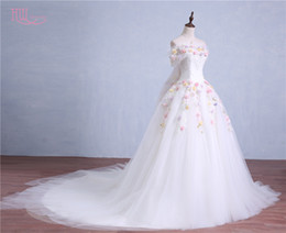 Detachable Off Shoulder Lace Gown Canada - Romantic Colorful Ball Gown Wedding Dresses Off Shoulder 2017 Real Photo Flowers Appliques Beaded With Detachable Train 2016 Bridal Gowns