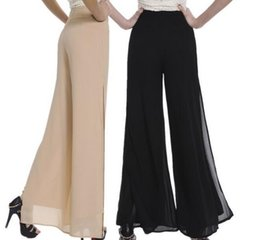 37a435298e466 2016 Hot SALE High Quality Fashion OL Temperament Women Chiffon Wide Leg  Pants - Plus Size XS - 4XL Black White Khaki Trousers Send Gifts  inexpensive white ...