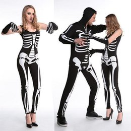 New Cosplay Living Dead Skeleton Costume Printed Black Ghost Costume Stage Uniform Halloween Costumes for Women & men Carnival Party