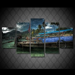 $enCountryForm.capitalKeyWord NZ - 5 Pcs Set Framed Printed Beach Fishing Boat Painting Canvas Print room decor print poster picture canvas Free shipping ny-4516