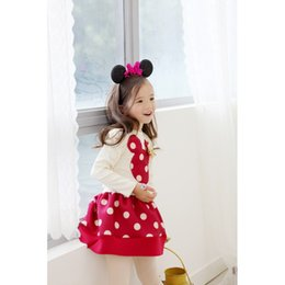 Barato Roupa Do Rato Do Minnie Para Miúdos-Bebés Meninas dos desenhos animados Minnie Mouse Suit manga comprida + Onda Ponto saia 2Pcs / Set Kids Clothing Cotton 100-140cm Fit 2-7Y