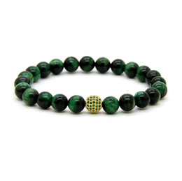tiger eyes bracelet 2019 - Hot Sale 8mm A Grade Green Tiger Eye Stone Beads With 9mm Micro Paved Green Cz Ball Beaded Party Gift Bracelet cheap tig