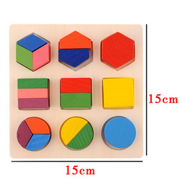 wooden blocks building Canada - Intellectual Geometry Toy Montessori Early Educational Building Block Wooden Shape Interesting Age 3