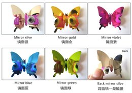 Butterfly Mirror Art Canada - 2016 New Product 12pcs set New Arrive Mirror Sliver 3D Butterfly Wall Stickers Party Wedding Decor DIY Home Decorations