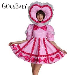 39c9258345a Custom Made Adult Baby Sissy Maid Sweet Heart Lockable Maid PVC Pink Dress  Uniform Costume Crossdress Cosplay