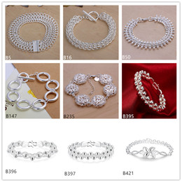 $enCountryForm.capitalKeyWord Canada - 8 pieces mixed style brand new fashion plated sterling silver Bracelet,Centipede Fishbone Hollow flower 925 silver plate Bracelet EMB16