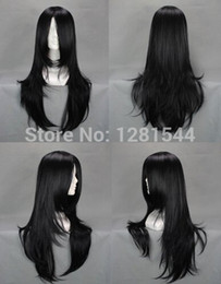 Halloween Wigs Men Canada - Free shipping Naruto Hyuuga Neji Long Black Cosplay Wigs