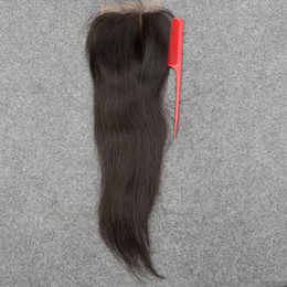 $enCountryForm.capitalKeyWord NZ - Slove 7A Best Brazilian Virgin Hair Lace Closure Bleached Knots Straight 4x4 Virgin Human Hair Closure DHL Free No Tangle&Shedding