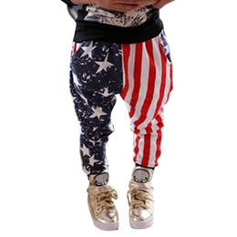 $enCountryForm.capitalKeyWord NZ - Ins hot sale boy long harem pants America flag trousers trendy item striped blue red star baby boys clothes kid toddler sports clothing