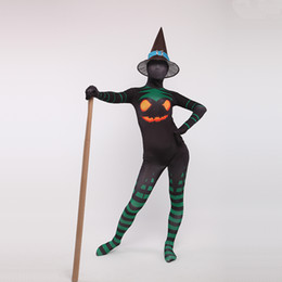 $enCountryForm.capitalKeyWord NZ - Sexy Black Green Lycra Spandex Full Body Witch Zentai Suits Pointed Hat Jumpsuit Romper