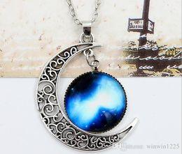 Necklaces Pendants Australia - New Vintage starry Moon Outer space Universe Gemstone Pendant Necklaces Mix Models