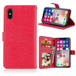 moto x flip cover case NZ - For IPhone X HTC 830 LG X Power 2 K10 Power MOTO G6 Plus G5S Plus Crazy Horse Leather Case Colorful Flip Wallet Stand Cards Slot Cover 8pcs