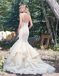 Barato Neckheart Neckline Keyhole Back-Vintage Layered Tulle Saias Mermaid Wedding Gowns 2016 Lace Straps Sweetheart Neckline Crystal Appliques Bridal Gowns Keyhole Back