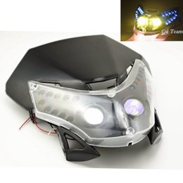 universal fairing Canada - 2016 HOT BLACK NEW LED HEADLIGHT FAIRING STREETFIGHTER ENDURO CROSS UNIVERSAL Motorcycle Headlights light FREE SHIPPING