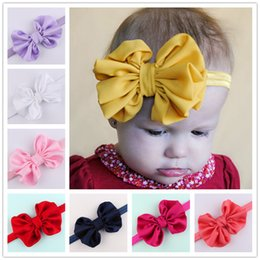 Satin ornamentS online shopping - 2016 New Baby Girls Satin Bowknot Bow Headbands Elastic Hairbands Headwear Hair Accessories For Girls childrens ornaments Colors KHA390