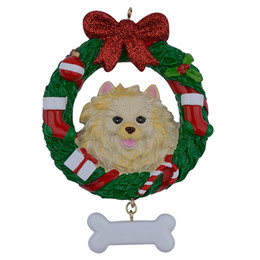 pug home decor Australia - Pomeranian Wreath Resin Crafts Shiny Christmas Ornaments Hand Painted Easily Personalized as for Pug Owners gifts or home decor